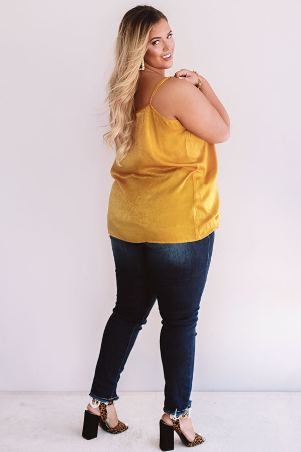 Martini Time Crochet Shift Tank in Mustard