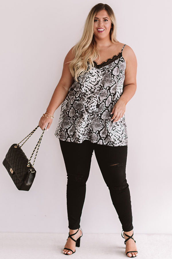 After Hours Snake Print Shift Tank in Dark Grey