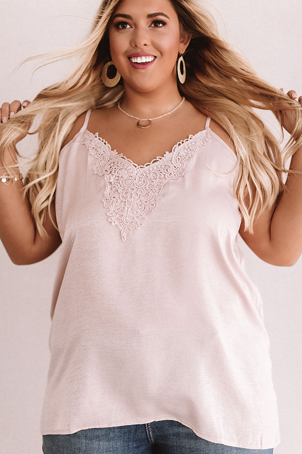 Martini Time Crochet Shift Tank in Light Blush