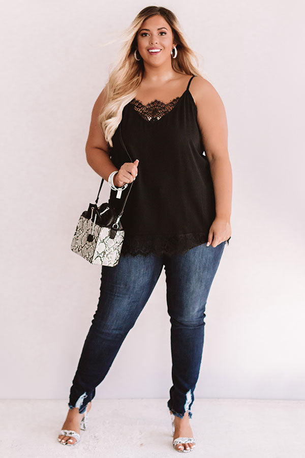 Time For Romance Lace Trim Tank in Black