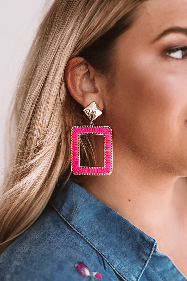 Pass Play Earrings In Hot Pink