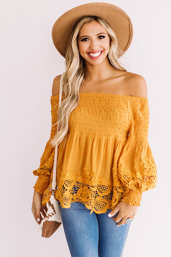 Greek Isle Getaway Crochet Off Shoulder Top In Orange