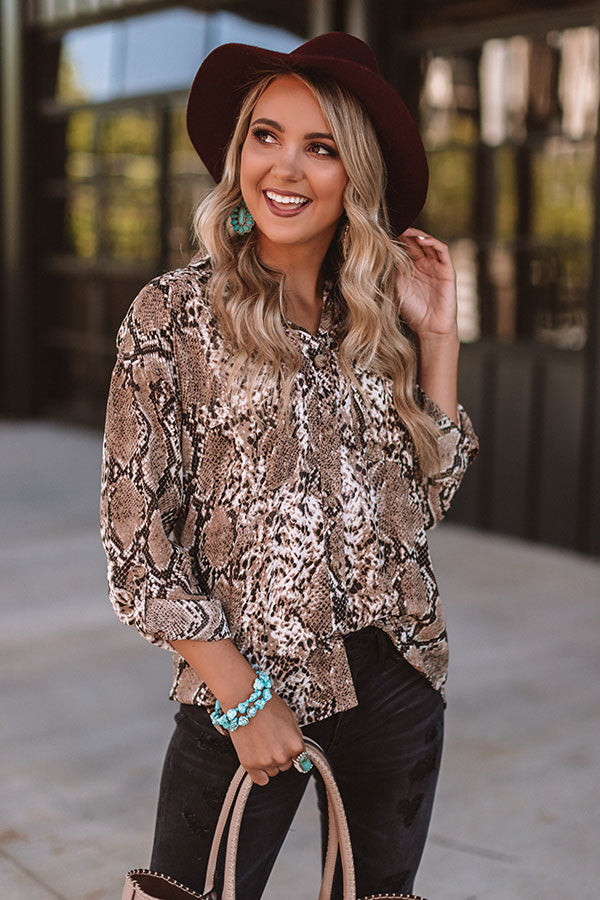 More Vino Please Snake Print Top