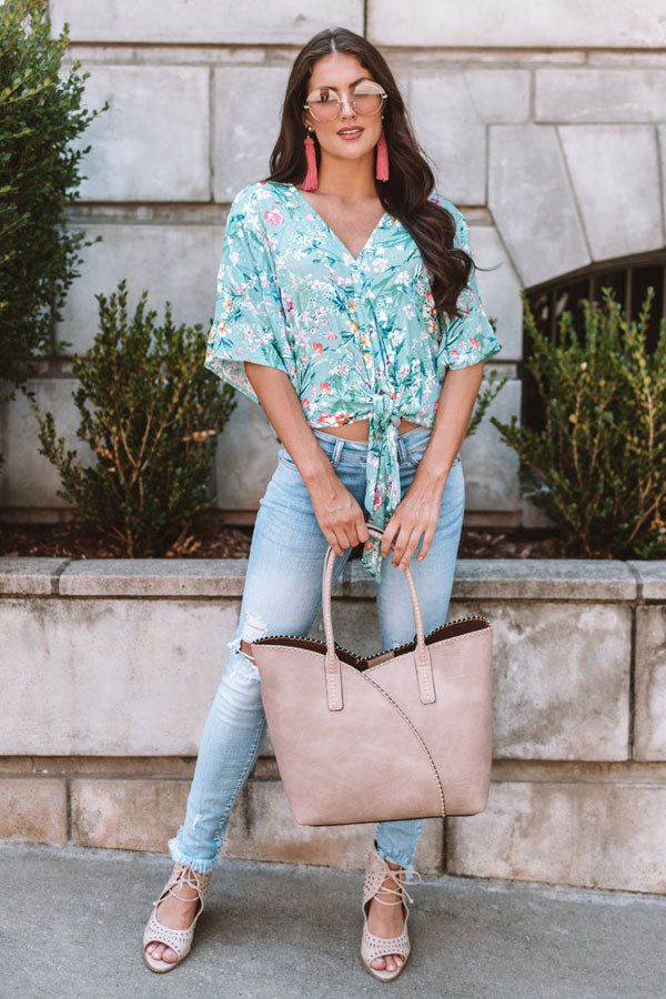Bellinis By The Coast Eyelet Tie Top In Light Turquoise