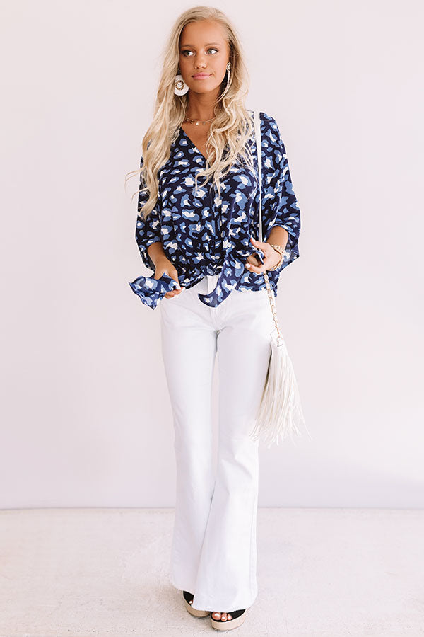 Notoriously Chic Leopard Tie Top In Blue