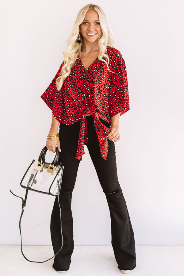 Notoriously Chic Leopard Tie Top In Red