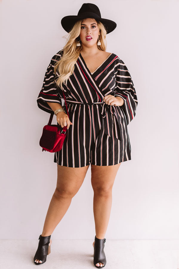 Center Of Chic Stripe Romper