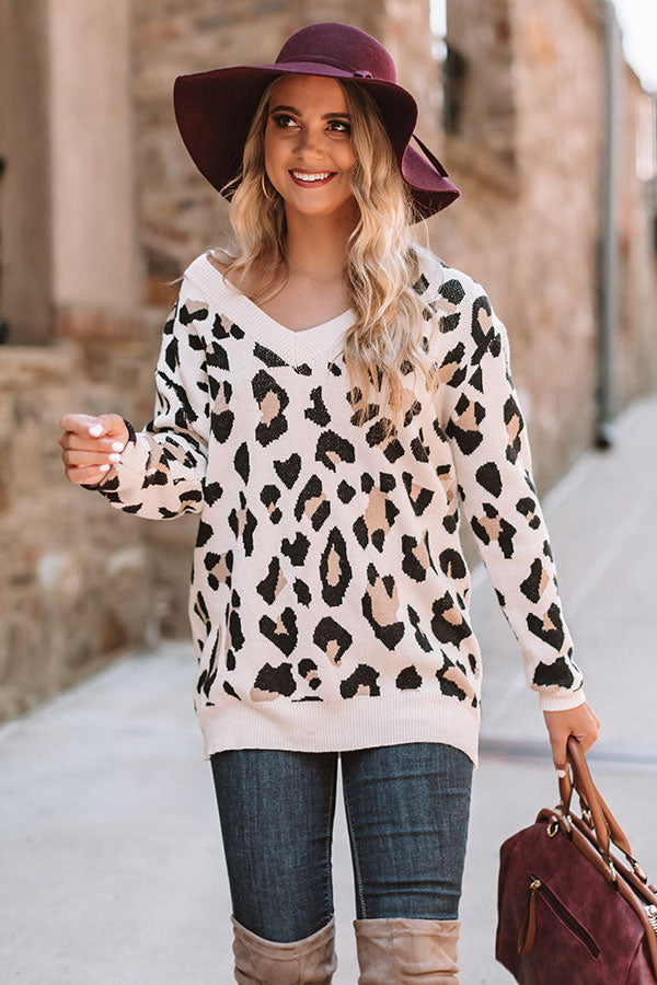Spotted In Manhattan V-neck Leopard Sweater In Cream