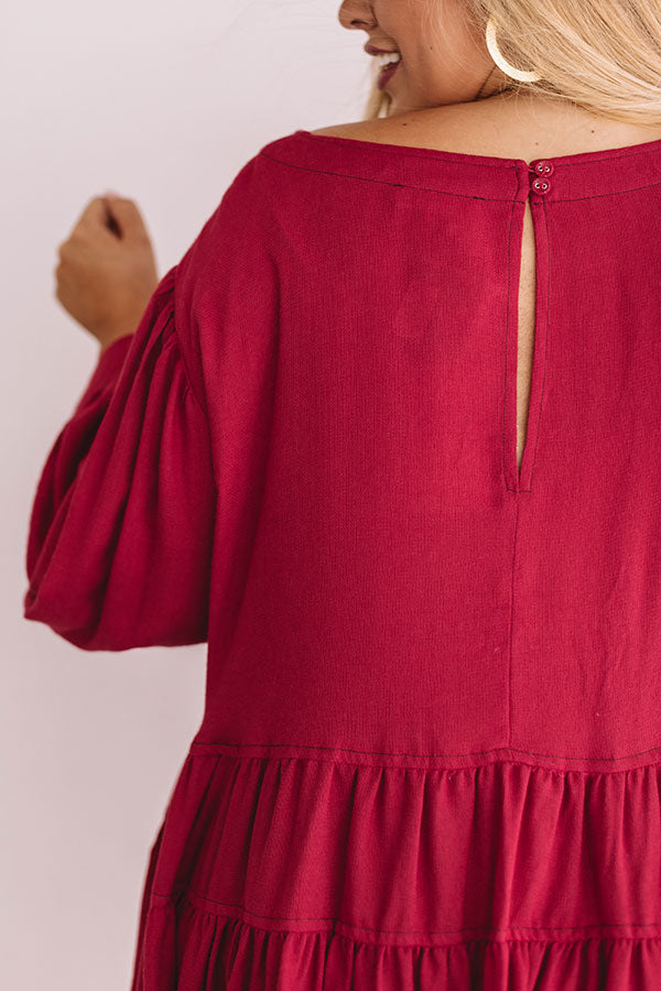 Everlasting Happiness Babydoll Top in Crimson
