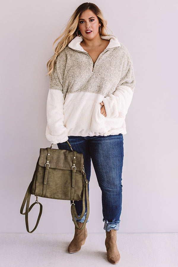 More Lattes, Please Sherpa Pullover In Beige