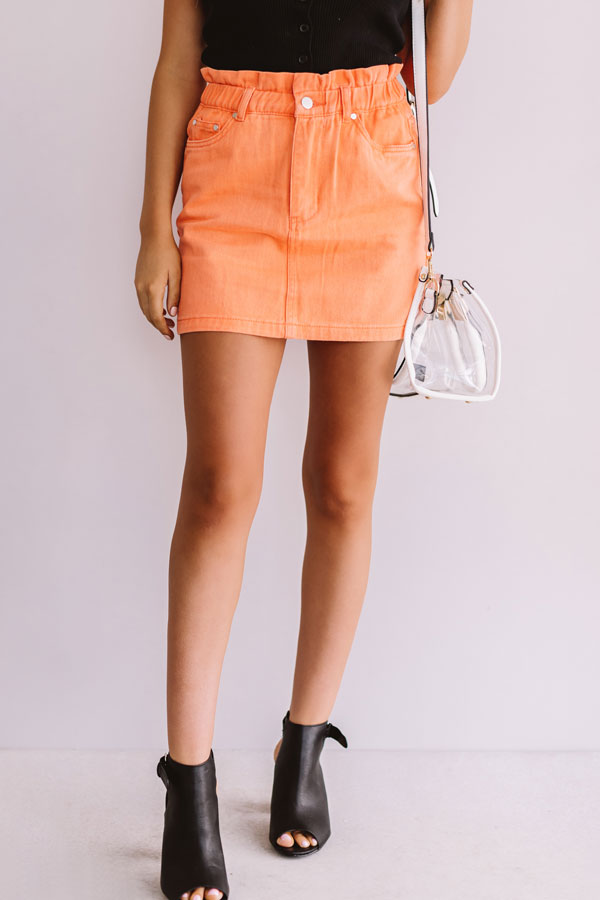 My Alma Mater Denim Skirt In Orange