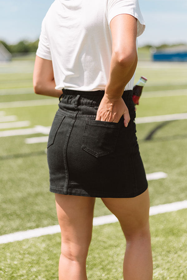 My Alma Mater Denim Skirt In Black