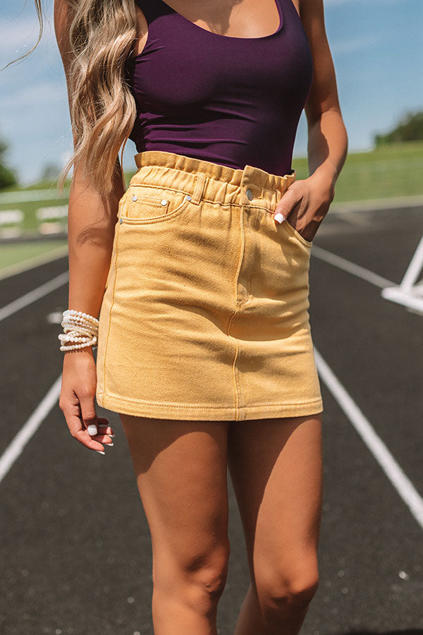My Alma Mater Denim Skirt In Yellow