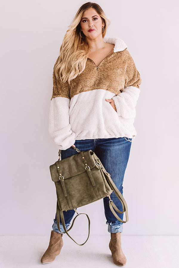 More Lattes, Please Sherpa Pullover In Iced Mocha