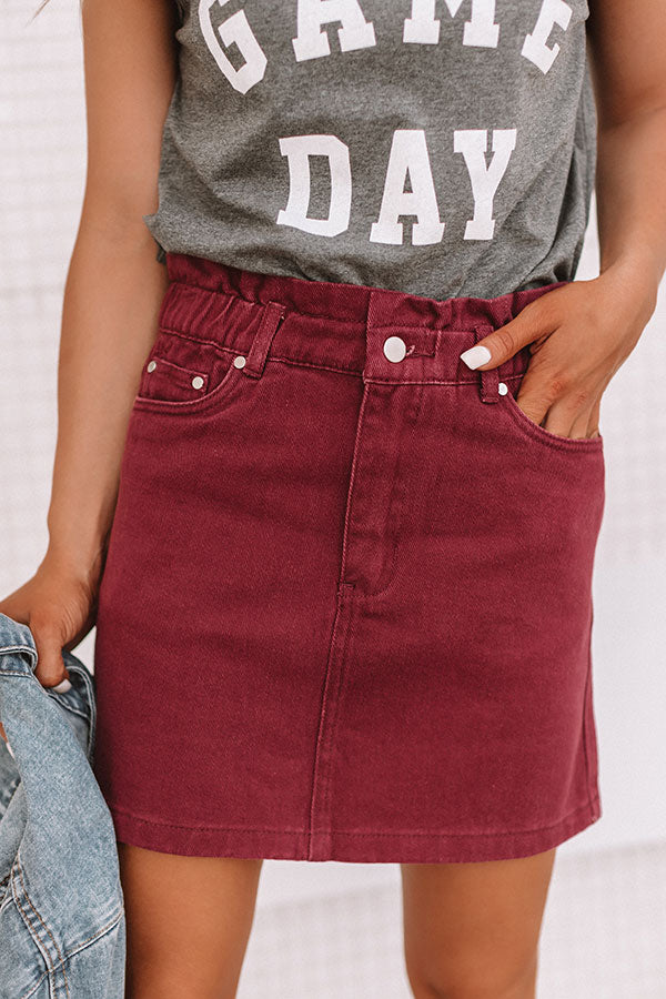 My Alma Mater Denim Skirt In Maroon