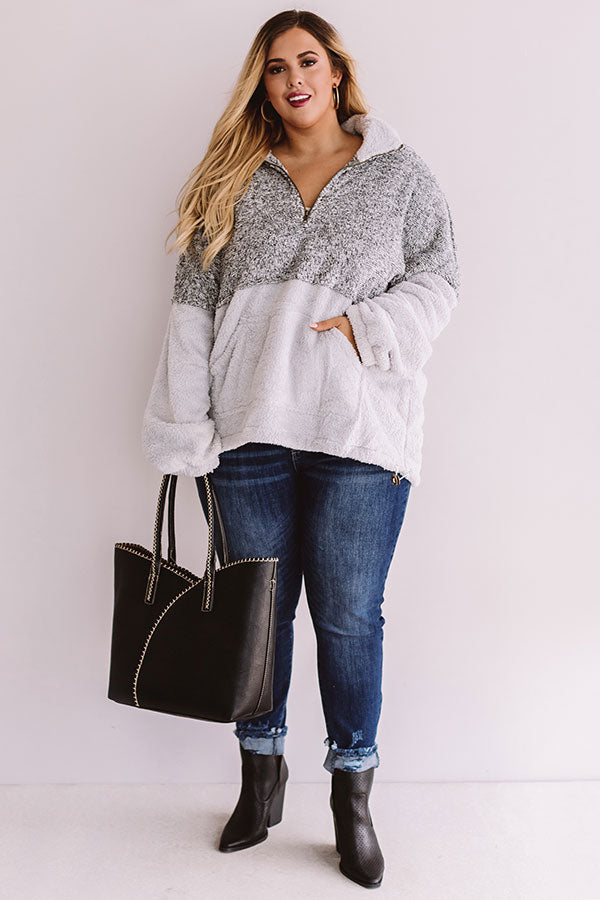 More Lattes, Please Sherpa Pullover In Grey