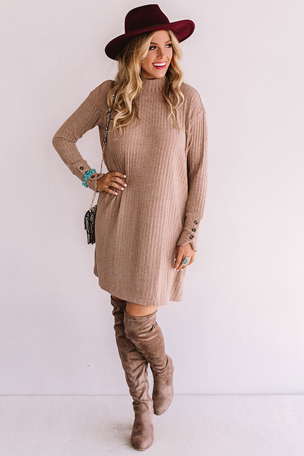 Downtown In Denver Tunic Shift Dress In Taupe