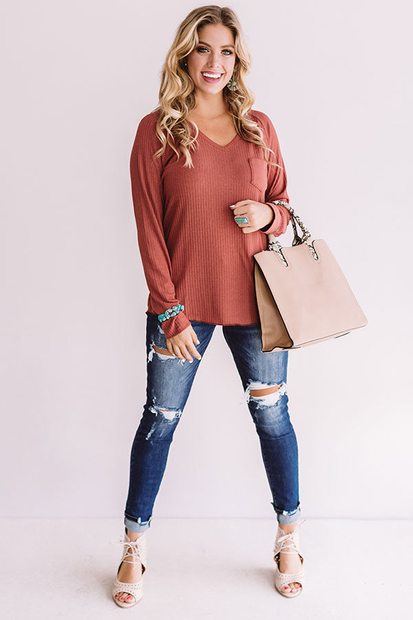Canyon Ridge Ribbed Shift Top In Rustic Rose