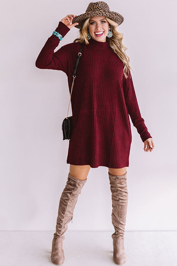 Downtown In Denver Tunic Shift Dress In Wine
