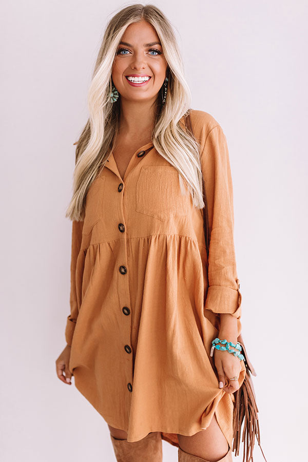 Denver Dreams Babydoll Dress In Iced Mocha
