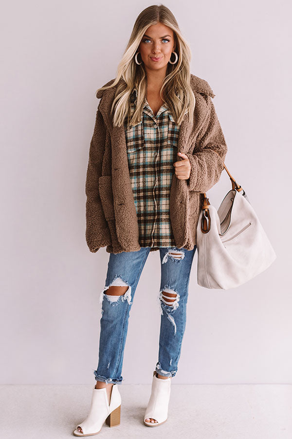 Sundown Snuggles Sherpa Jacket In Brown