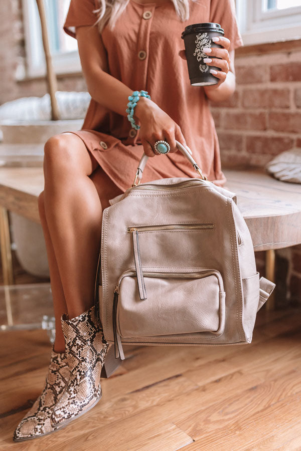 Epic Adventure Faux Leather Backpack In Taupe
