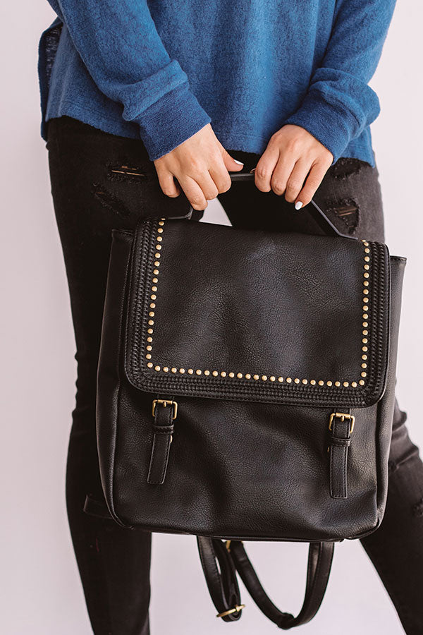 European Travels Faux Leather Backpack In Black