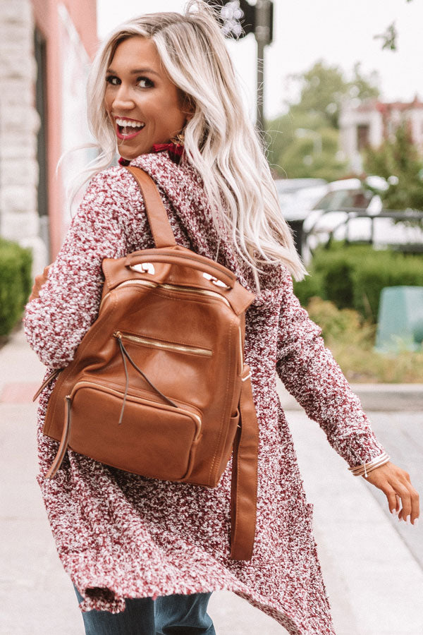Epic Adventure Faux Leather Backpack In Brown