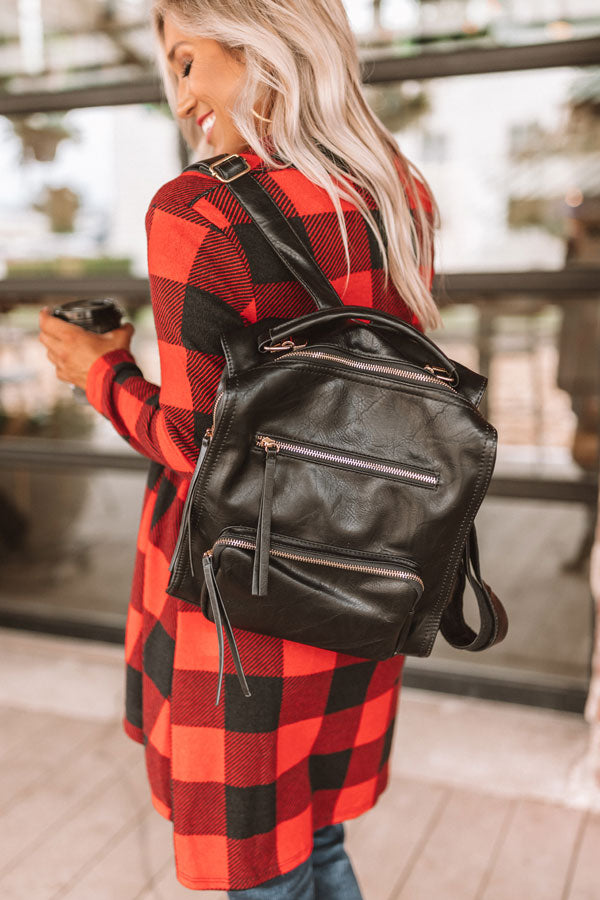 Epic Adventure Faux Leather Backpack In Black