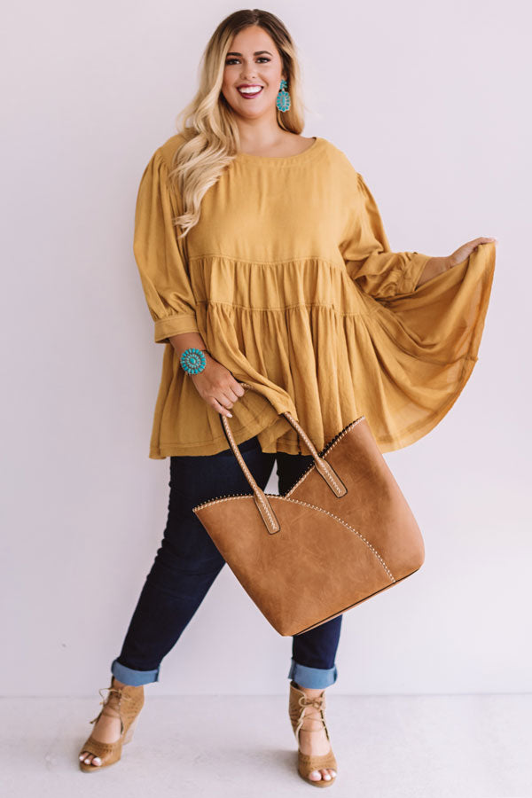 Everlasting Happiness Babydoll Top in Mustard