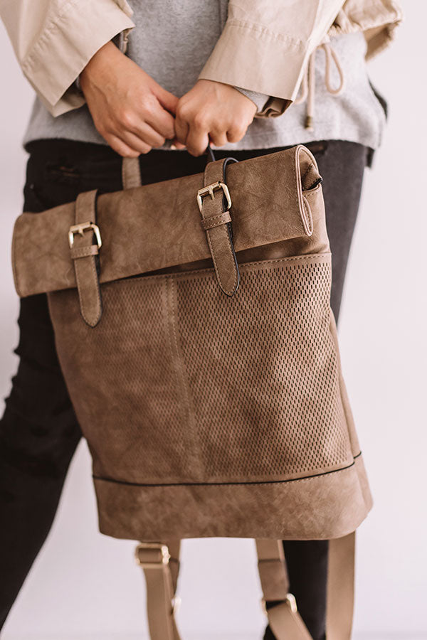 Across The Universe Faux Leather Backpack In Taupe