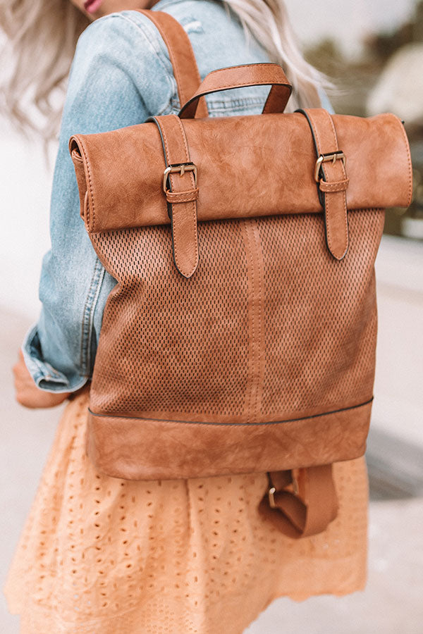 Across The Universe Faux Leather Backpack In Brown