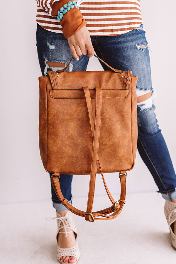 European Travels Faux Leather Backpack In Brown