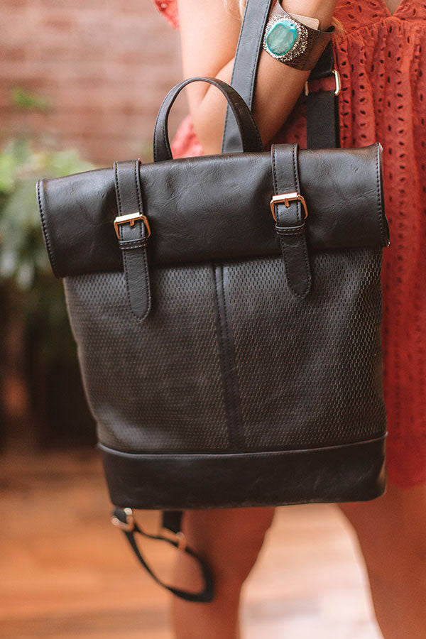 Across The Universe Faux Leather Backpack In Black