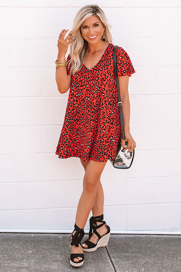 Cheers And Kisses Leopard Shift Dress in Red