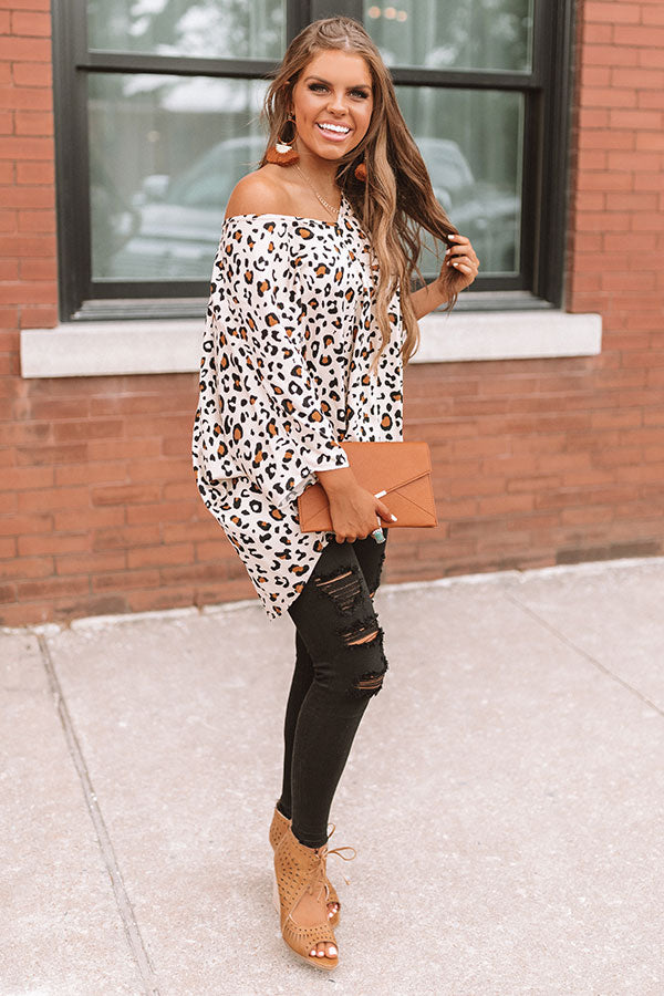 At The After Party Leopard Tunic in Iced Latte