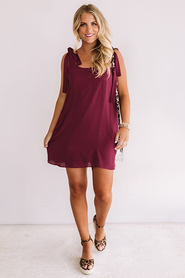 Half Time Happy Hour Shift Dress in Maroon