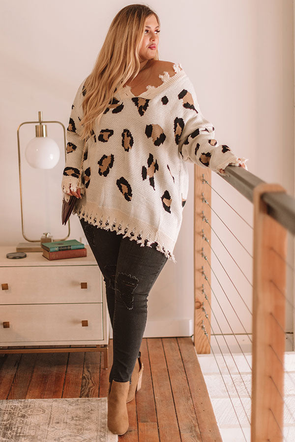 Let The Music Fray Leopard Sweater In Cream