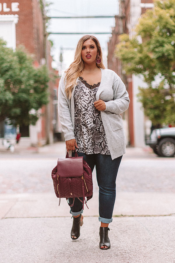 Better With Vino Cardigan In Grey