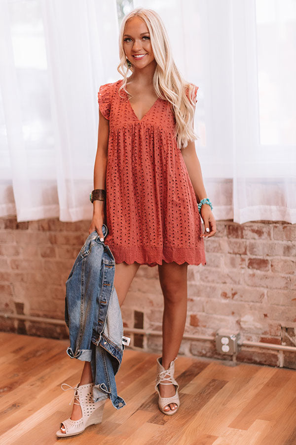 Sway Into Style Eyelet Romper in Rustic Rose