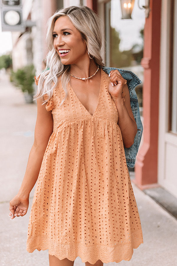 Sway Into Style Eyelet Romper in Golden Honey