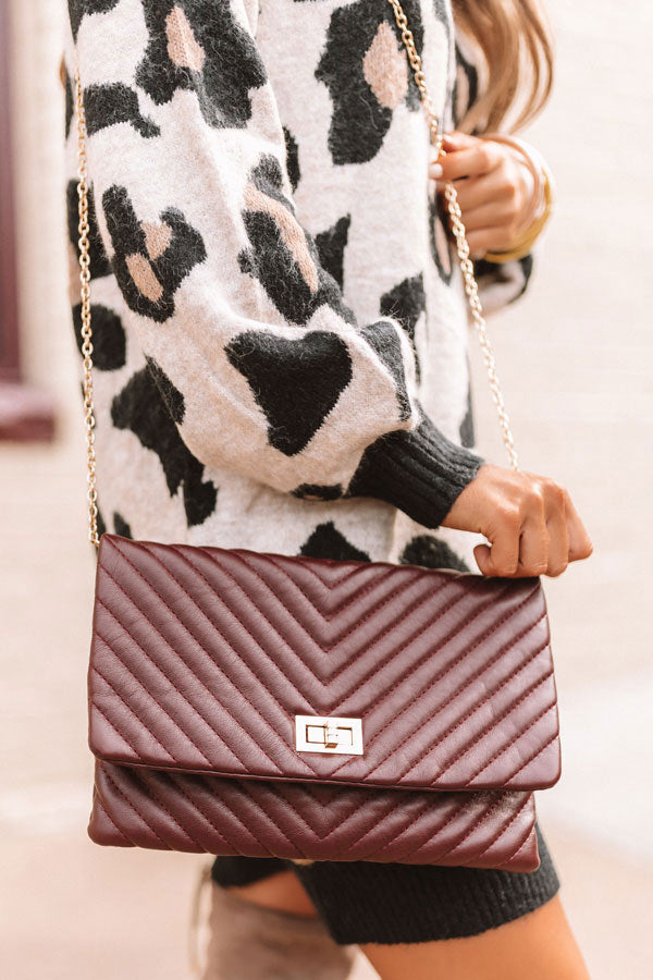 Delicate Details Faux Leather Clutch in Windsor Wine