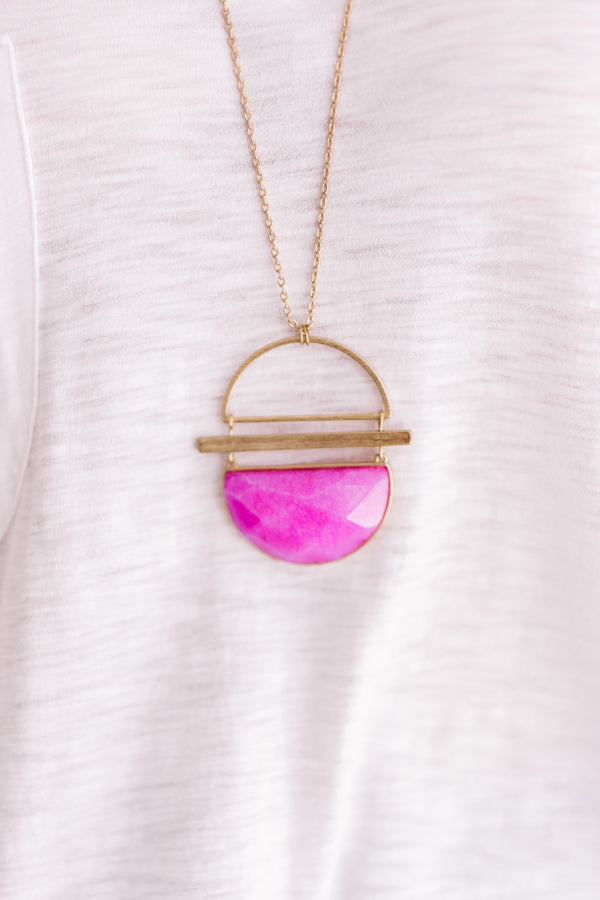 Sweet Travels Semi Precious Necklace in Fuchsia