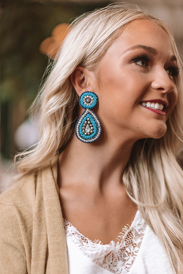 Pinot Party Beaded Earrings in Turquoise