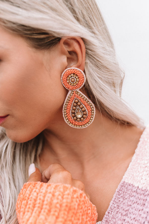 Pinot Party Beaded Earrings in Persimmon