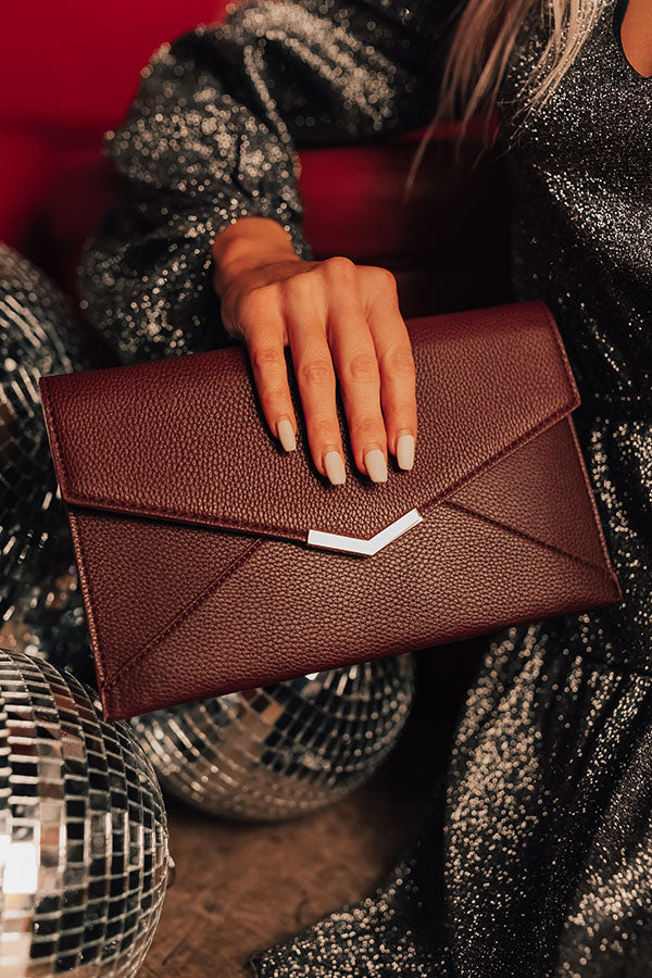Red Carpet Event Faux Leather Clutch in Windsor Wine