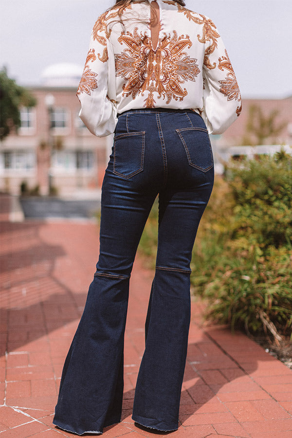 The Harmony High Waist Flare In Dark Wash