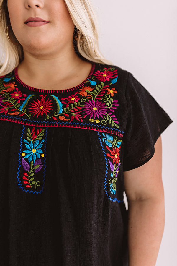 Divine Details Embroidered Shift Dress In Black