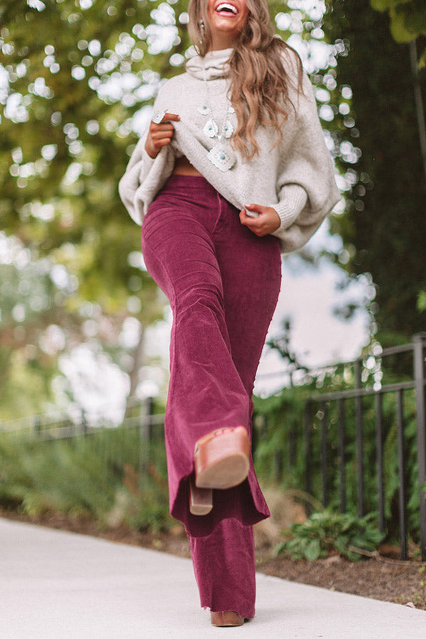 The Harmony High Waist Corduroy Flare In Wine