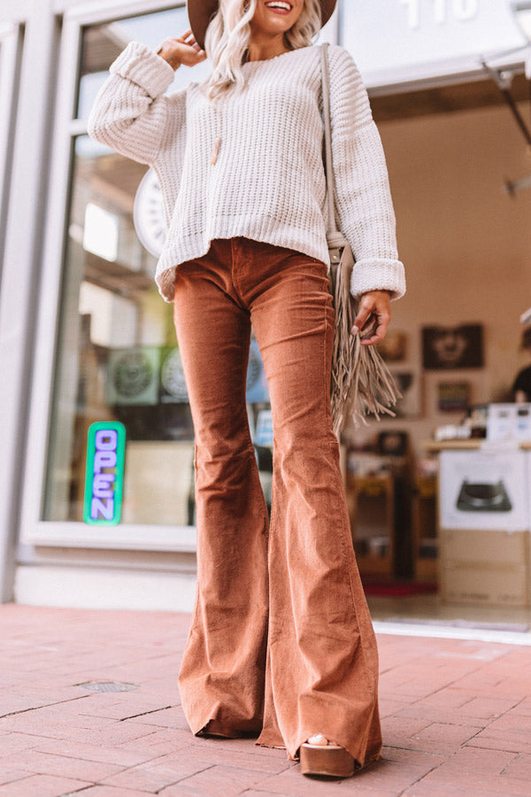 The Harmony High Waist Corduroy Flare In Copper